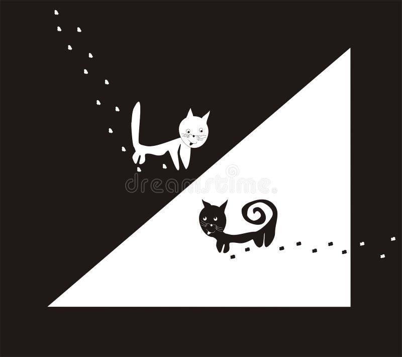 Download Gatos: blanco y negro ilustración del vector. Ilustración de gato - 7275676