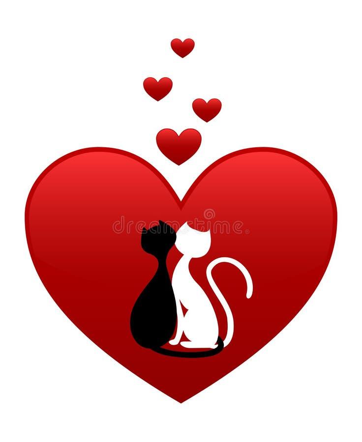 Gatos blancos y negros ilustración del vector