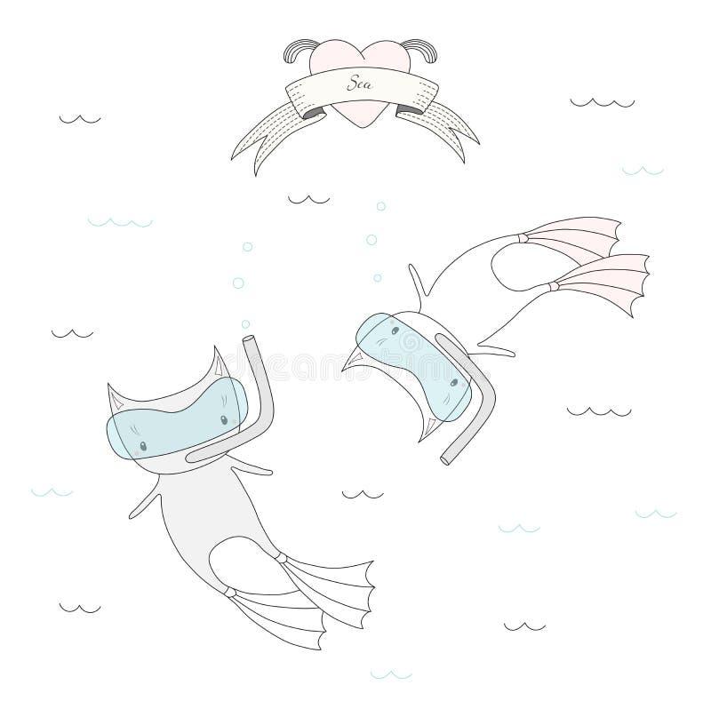 Gatos bonitos do mergulho ilustração do vetor