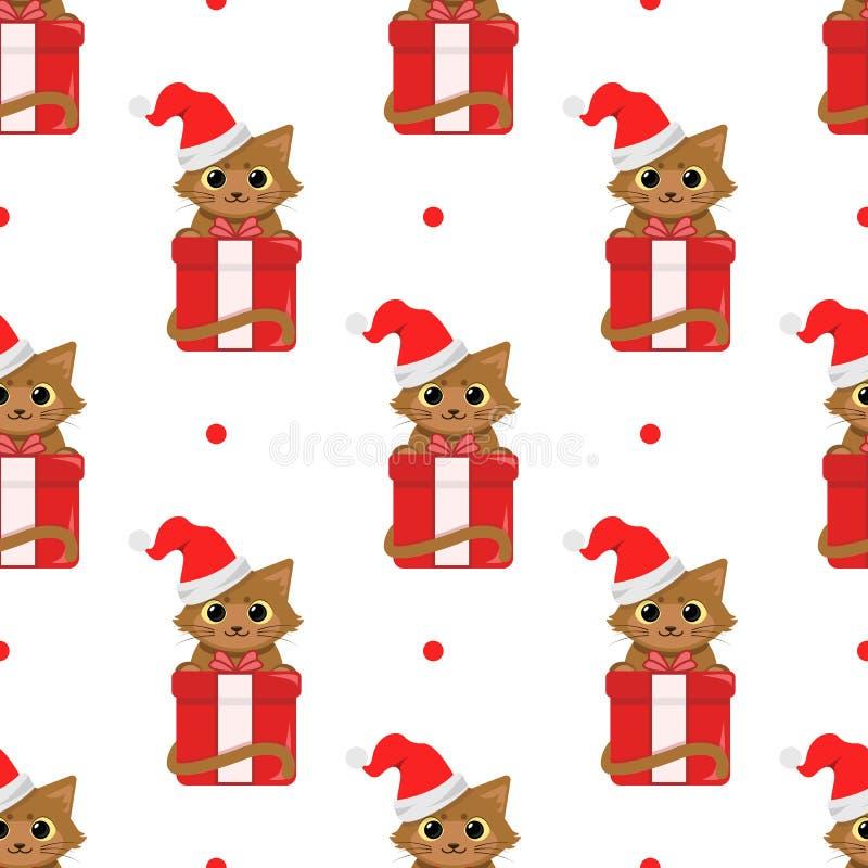 Gatos bonitos dos desenhos animados com presentes do Natal Teste padrão sem emenda do vetor no fundo branco ilustração do vetor
