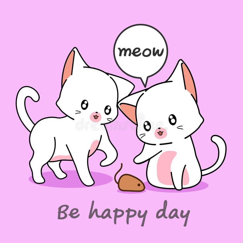 2 gatos bonitos estão jogando com um cinzento ilustração stock