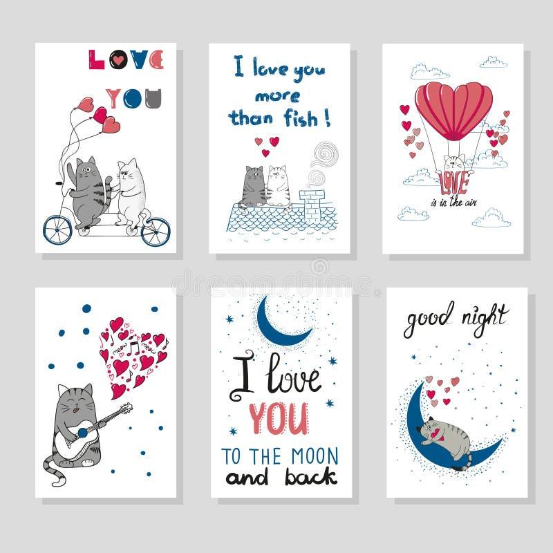 Gatos bonitos no amor Grupo de cartão romântico ilustração do vetor
