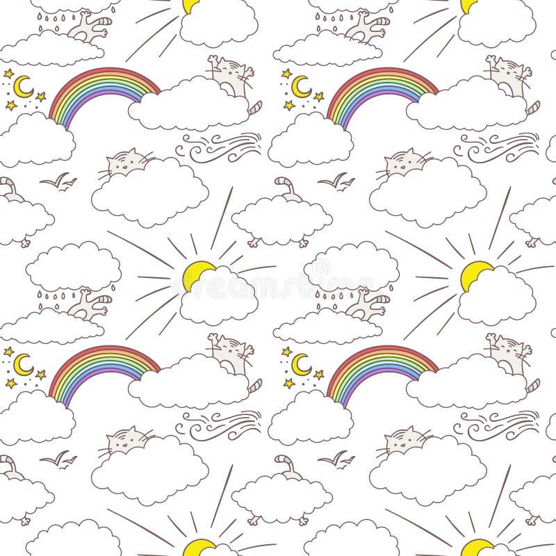Gatos bonitos no projeto sem emenda criançola feliz do teste padrão do céu Textura para pap?is de parede, tela, envolt?rio, fundo ilustração royalty free