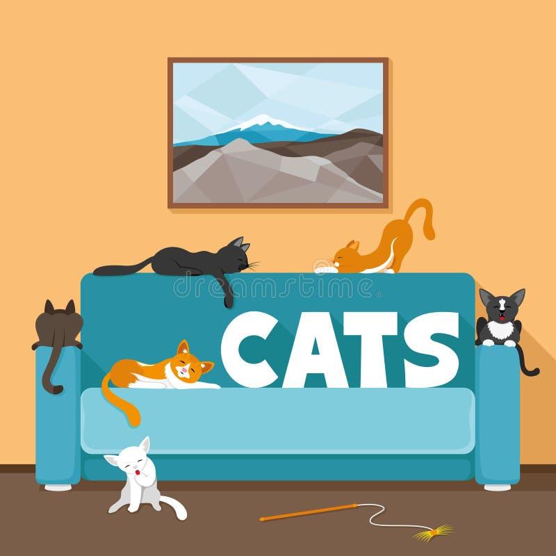 Gatos bonitos no sofá ilustração royalty free