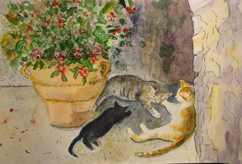 Gatos bonitos que encontram-se na máscara no verão, watercolour ilustração royalty free