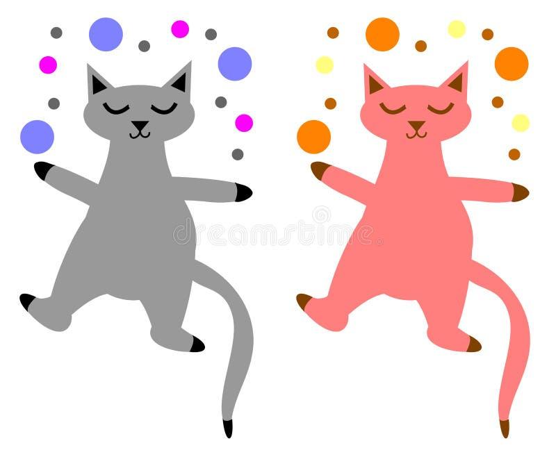 Gatos brincalhão ajustados ilustração royalty free