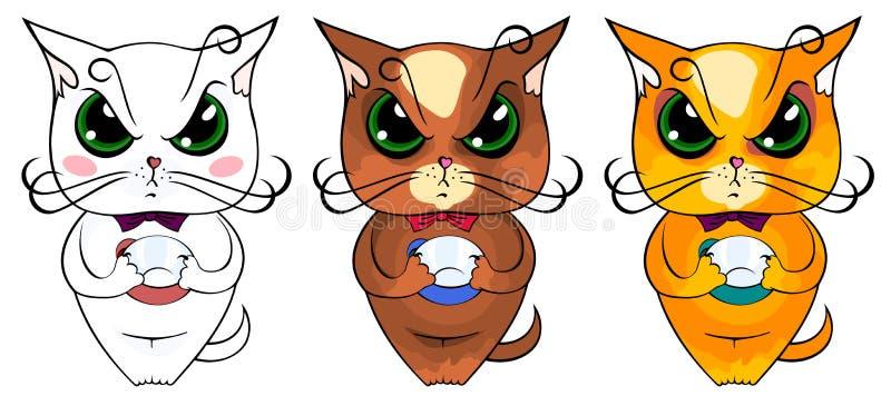 Gatos coloridos desenhos animados que exigem o café ou o alimento ilustração stock