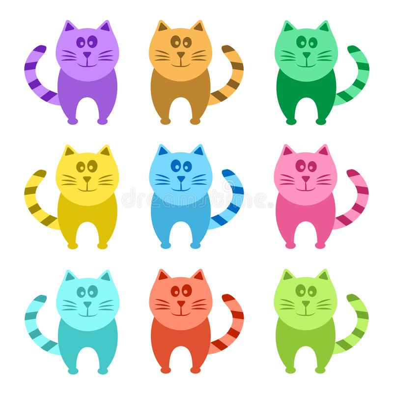 Gatos coloridos do grupo dos desenhos animados, vetor ilustração royalty free