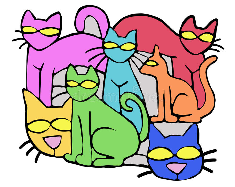 Gatos coloridos fantasia ilustração stock