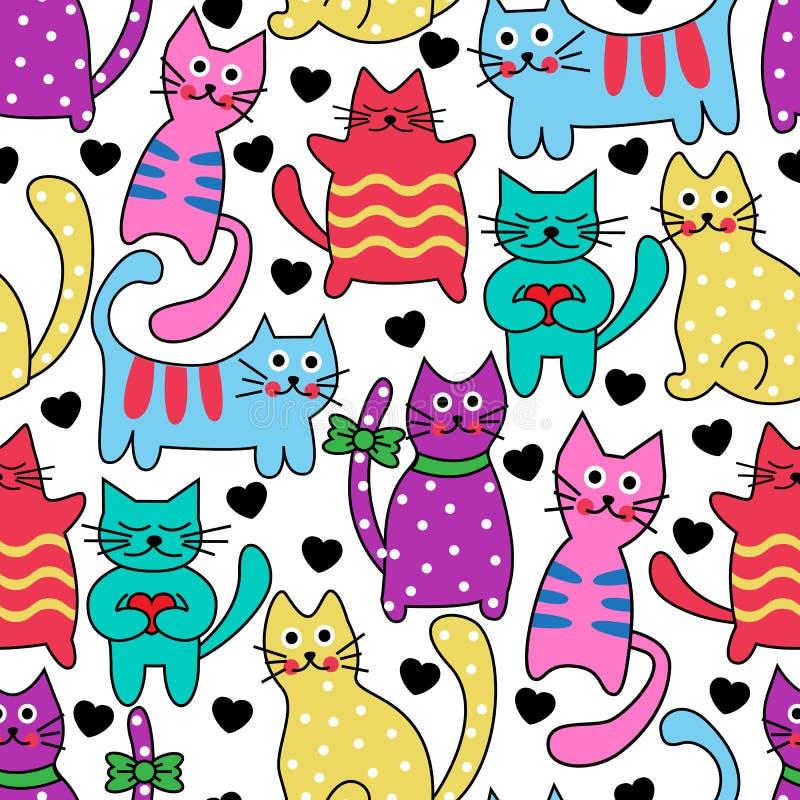 Gatos coloridos inconsútiles de la historieta ilustración del vector
