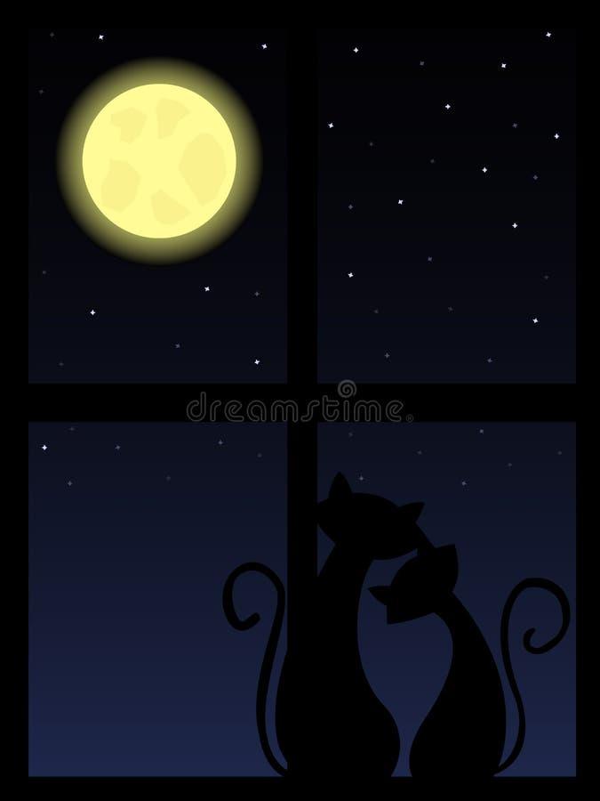 Gatos da noite ilustração stock