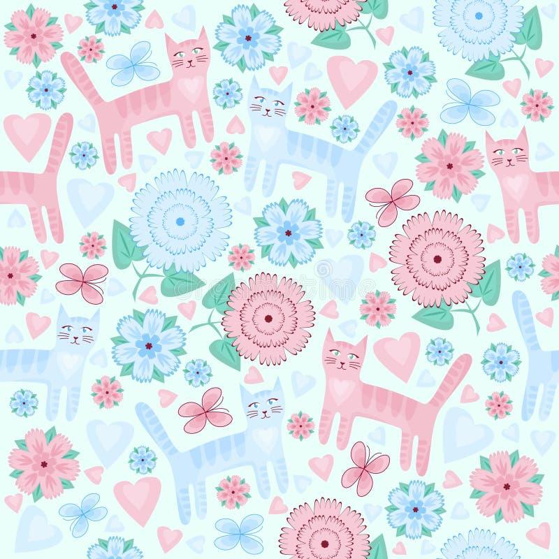 Gatos de amor do teste padrão, flores, corações, borboletas ilustração royalty free