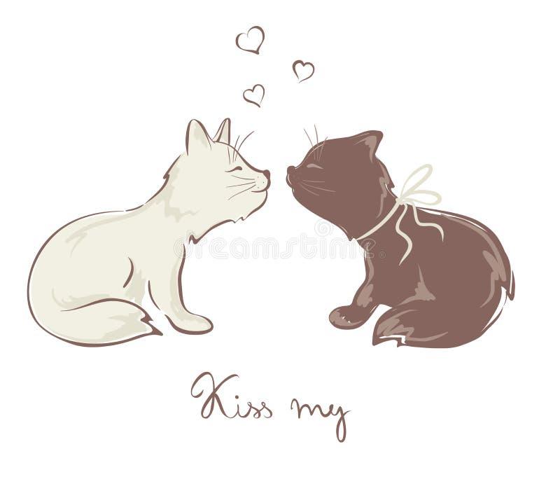 Gatos de beijo engraçados ilustração do vetor