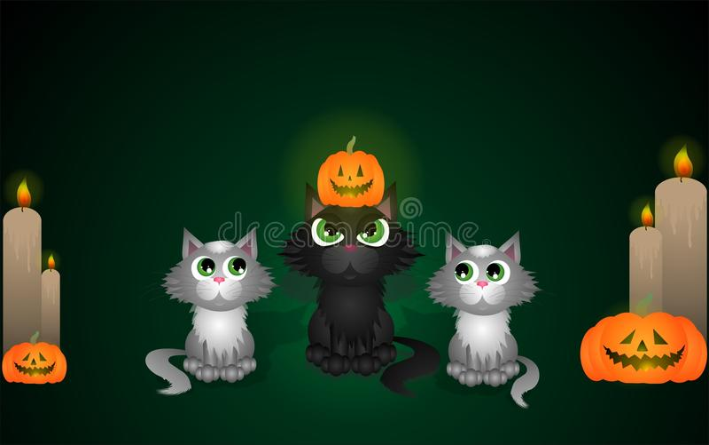 Gatos de Dia das Bruxas ilustração do vetor