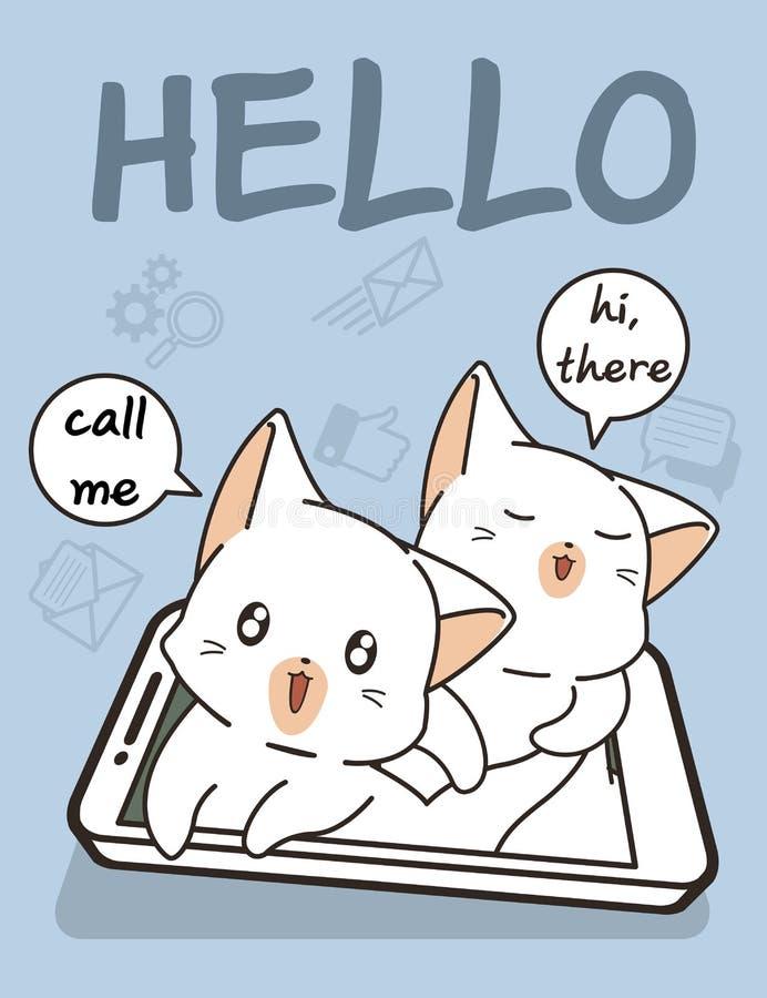 Gatos de Kawaii com tecnologia do telefone esperto ilustração do vetor