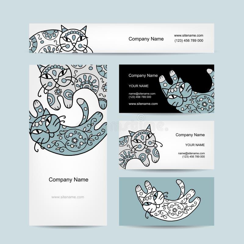 Gatos del arte con el ornamento floral Tarjetas de visita libre illustration