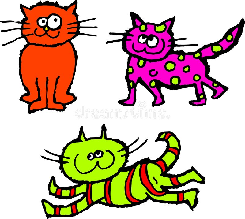 Gatos desalinhado ilustração stock