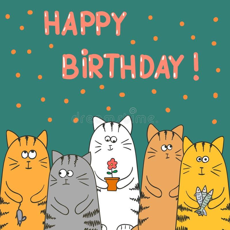 Gatos divertidos con los presentes Plantilla de la tarjeta del vector del cumpleaños stock de ilustración