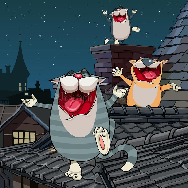 Gatos divertidos de la historieta que gritan en el tejado en la noche ilustración del vector