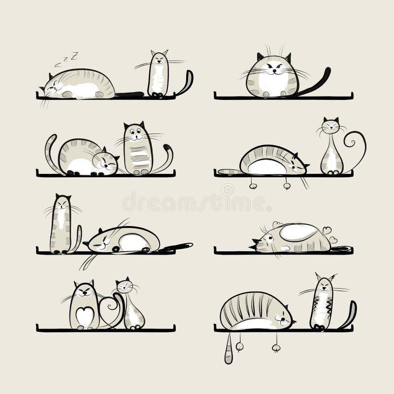 Gatos divertidos en estantes stock de ilustración