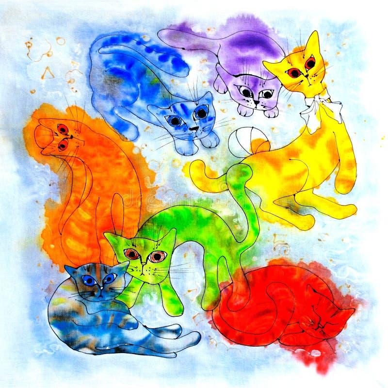 Gatos divertidos multicolores Bosquejo de la tinta Fondo blanco Mantón, modelo, diseño, ilustraciones gráficas stock de ilustración