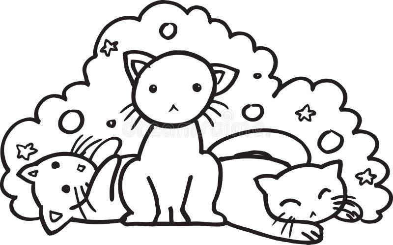 Gatos do bebê - ilustração do BW ilustração stock