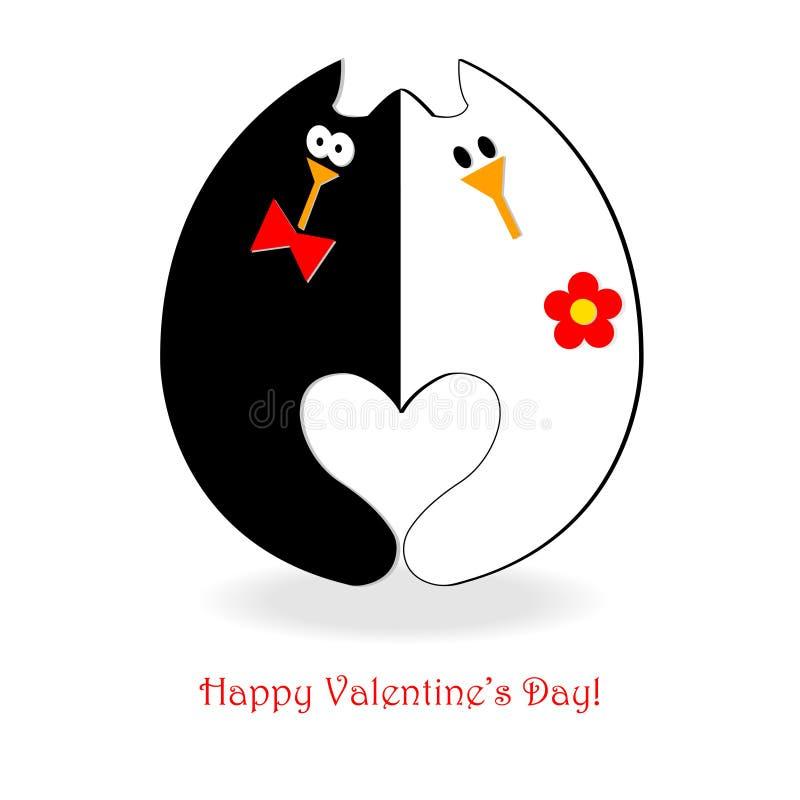 Gatos do cartão do dia de Valentim imagem de stock