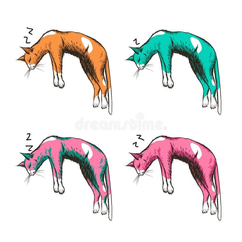 Gatos do sono ilustração stock