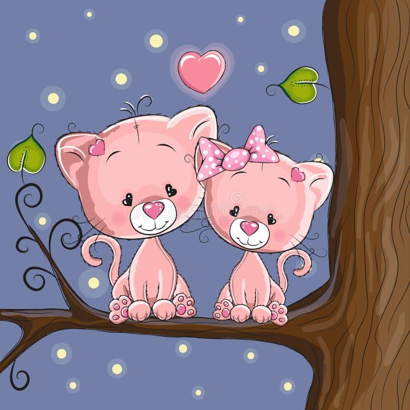 Gatos dos amantes ilustração stock