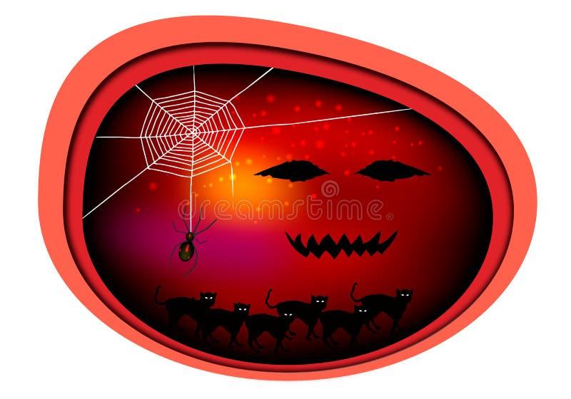 Gatos e aranha maus na noite de Dia das Bruxas ilustração stock