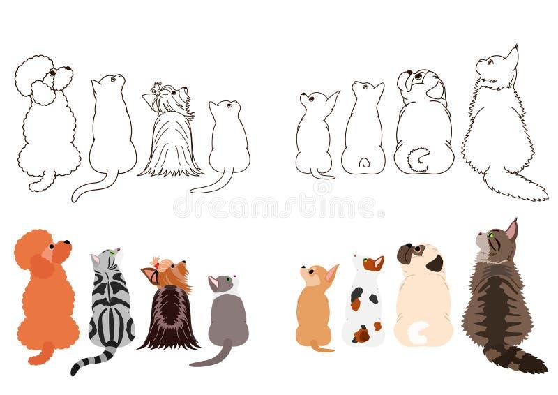 Gatos e cães pequenos que olham acima lateralmente em duas fileiras ilustração stock