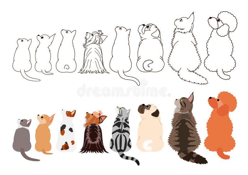 Gatos e cães pequenos que olham acima lateralmente em seguido ilustração stock