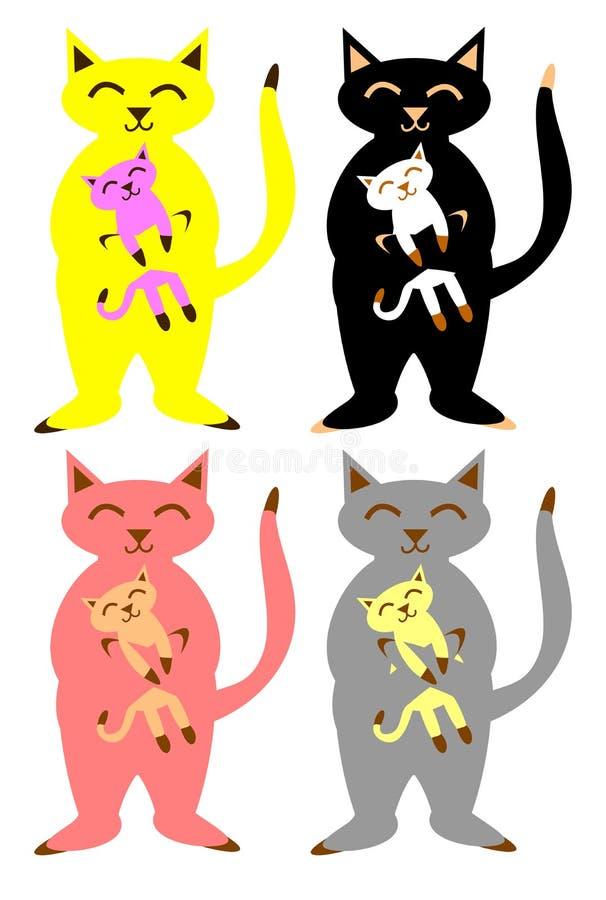 Gatos e gatinhos ajustados ilustração royalty free