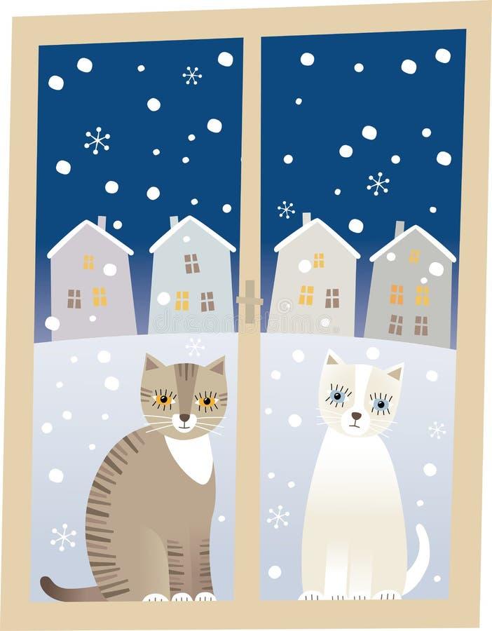 Gatos e inverno ilustração stock