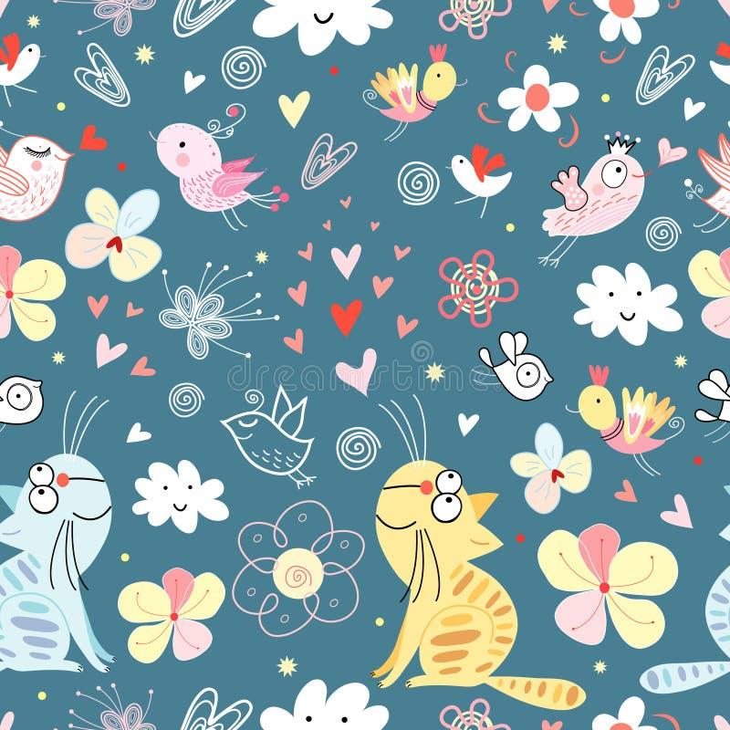 Gatos e pássaros da textura ilustração stock