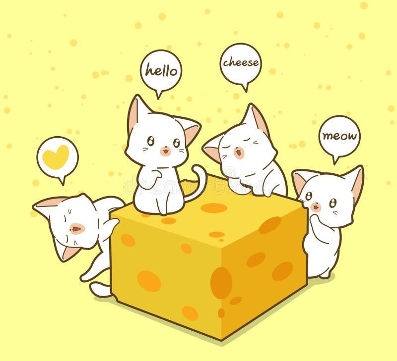 Gatos e queijo de Kawaii ilustração royalty free