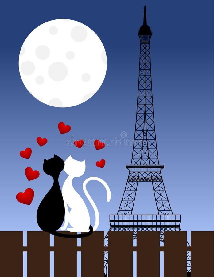 Gatos e torre Eiffel ilustração do vetor