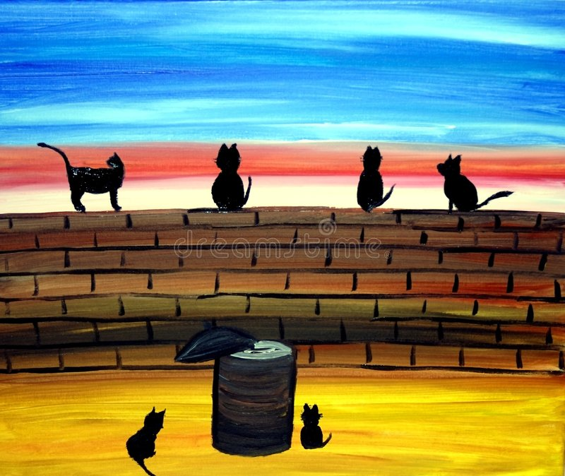 Gatos em uma arte da parede ilustração stock