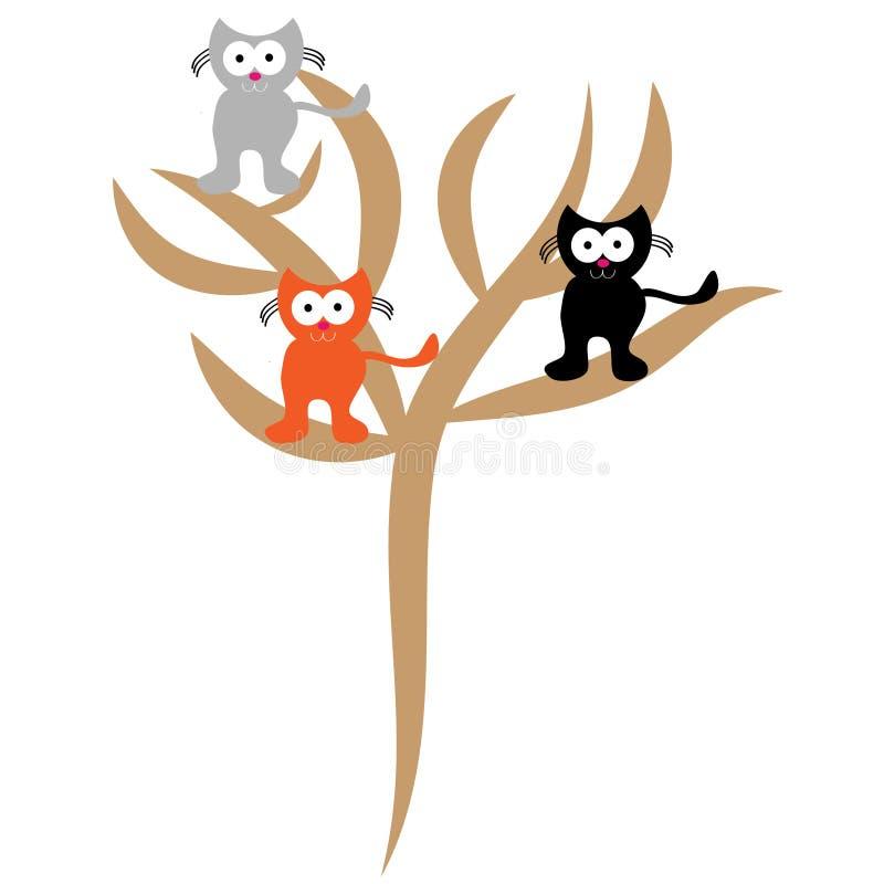 Gatos en árbol en el fondo blanco stock de ilustración
