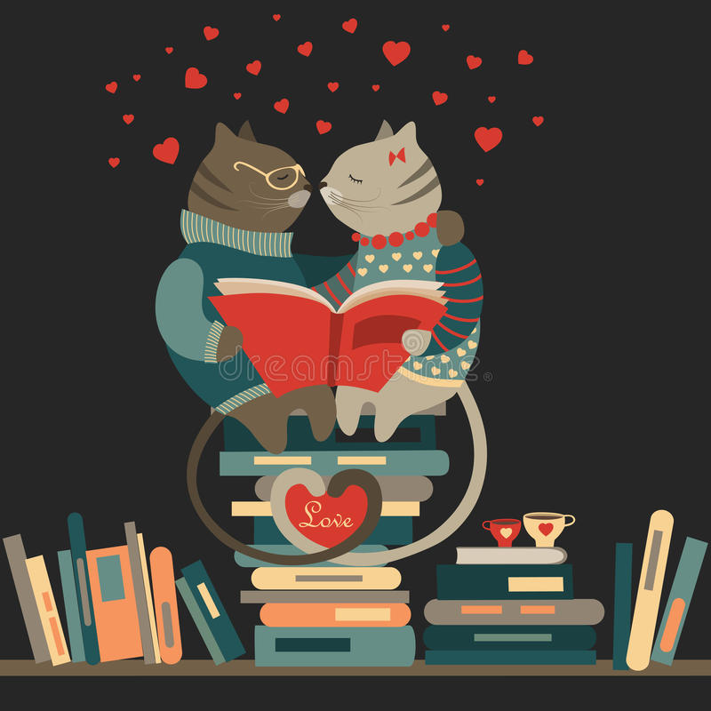 Gatos en amor que leen un libro ilustración del vector