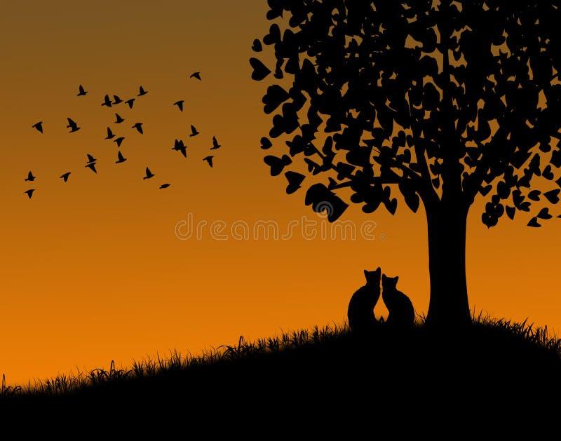 Gatos en la puesta del sol stock de ilustración