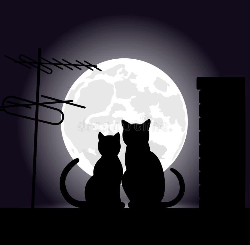 Gatos en un tejado de la noche stock de ilustración
