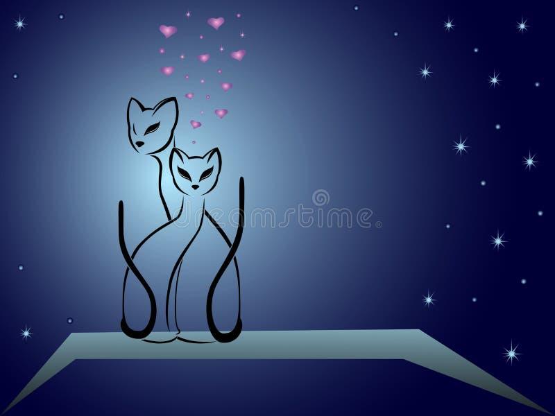 Gatos enamorados contra el cielo nocturno azul marino ilustración del vector