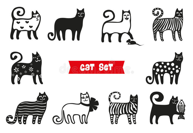 Gatos engraçados ajustados Coleções da silhueta dos gatos pretos Estilo dos desenhos animados ilustração royalty free
