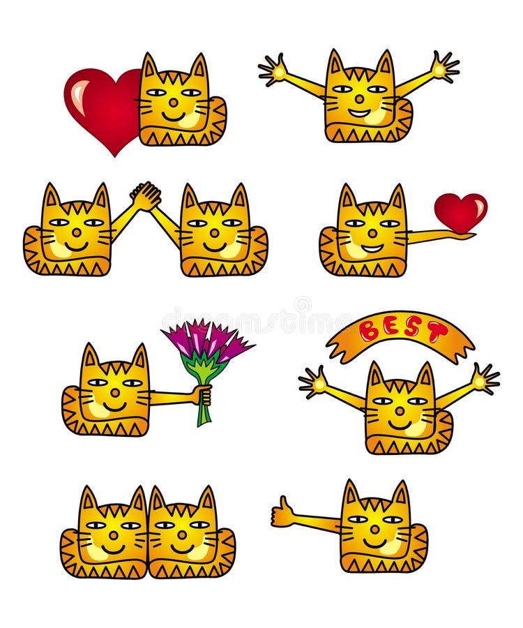 Gatos engraçados Coleção de 8 ícones e imagens positivos do smiley ilustração royalty free