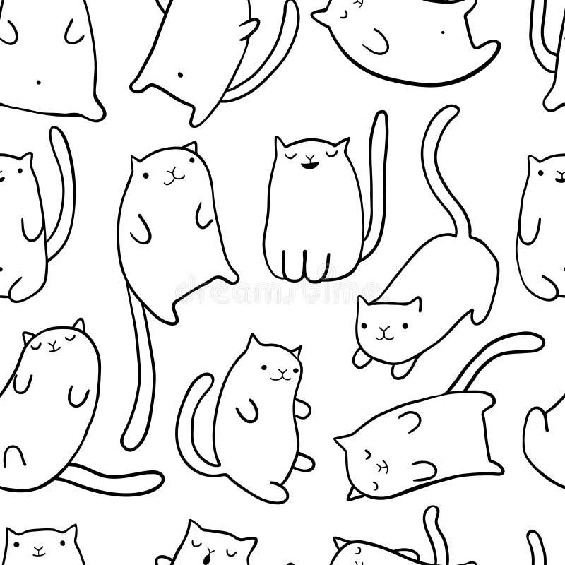 Gatos engraçados da tração da mão ilustração royalty free