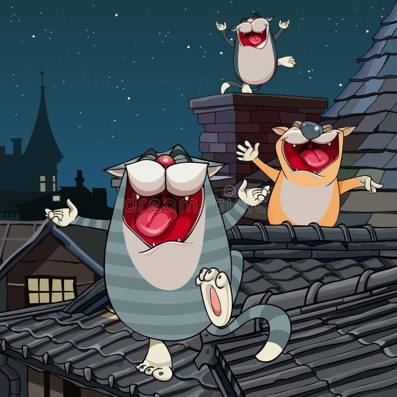 Gatos engraçados dos desenhos animados que gritam no telhado na noite ilustração do vetor