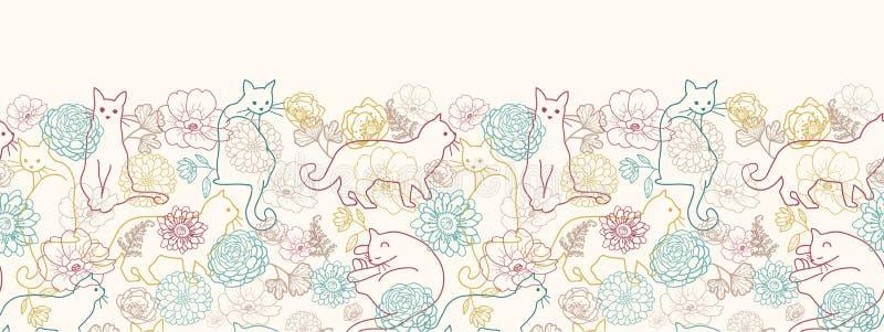 Gatos entre o teste padrão sem emenda horizontal das flores ilustração royalty free