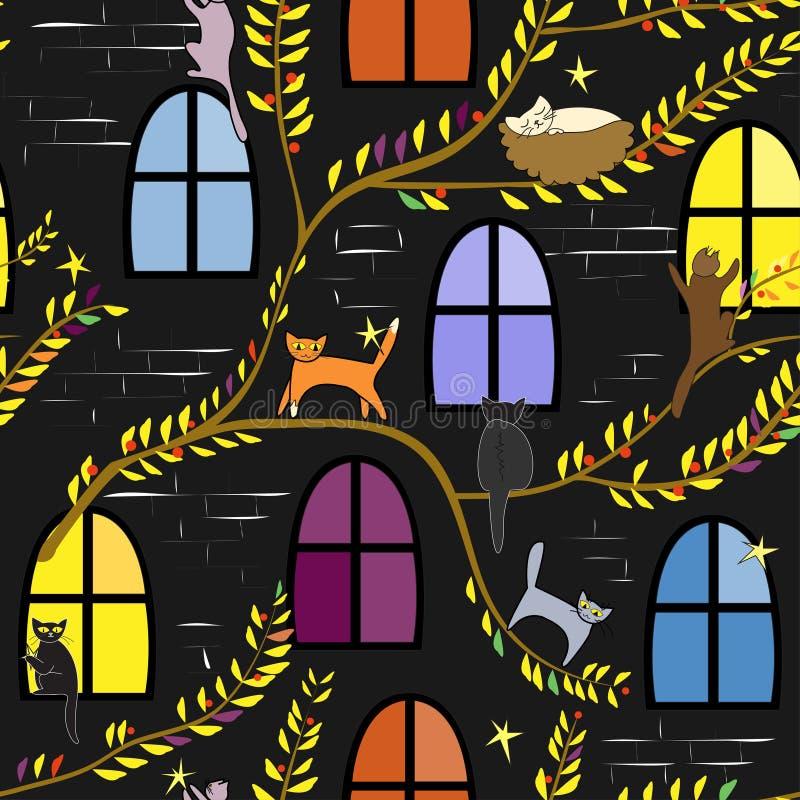 Gatos feericamente na noite Fundo criançola ilustração do vetor
