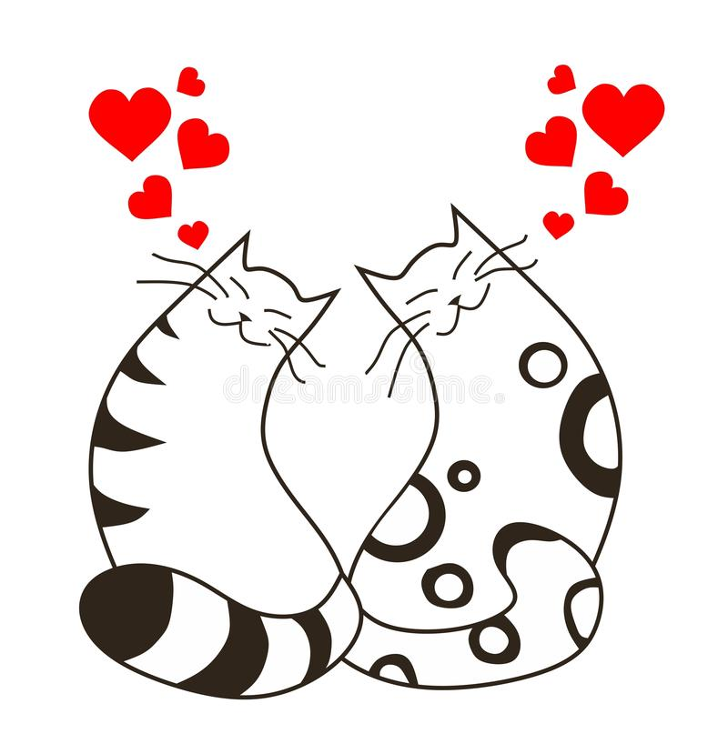 Gatos felices del amor del día de tarjetas del día de San Valentín libre illustration